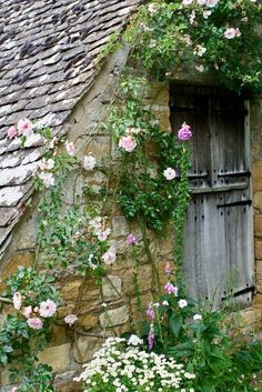 Stone garden shed in this Cottage Garden. Love how roses cover the side! Manor Garden, Garden Cottage, Dream Garden, Home And Garden, Cozy Cottage, Rustic Cottage, Beautiful Gardens, Beautiful Flowers, Rare Flowers
