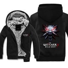 Witcher 3 Wild Hunt Fleece Jacket - Wolf Symbol Jacket Hoodie