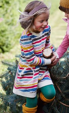 Little Joule - Bangles Long-Sleeve Girl Dress with Stripes