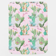 Succulent Baby Minky Blanket Watercolor Baby.Succulent Nursery Faux Fur Succulent Garden Llama Love Mommy and Me Blanket. Baby Blanket