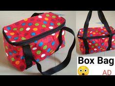 DIY Zipper box bag, box bag making Lunch Bag Tutorials, Designer Baby Bags, Pouch Tutorial, Bag Patterns To Sew, Box Bag, Zipper Bags, Travel Bag, Bag Making, Stitches