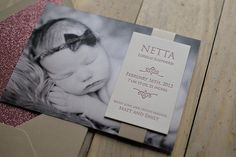 photo and letterpress birth announcement for baby girl, pink glitter