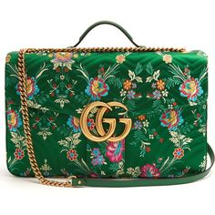 Gucci GG Marmont maxi floral-jacquard shoulder bag ($2,520) ❤ liked on Polyvore featuring bags, handbags, shoulder bags, green multi, quilted handbags, single shoulder bag, quilted purses, one shoulder bag and gucci handbags