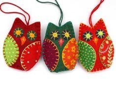 Buho de fieltro adornos adornos Navidad fieltro por PuffinPatchwork