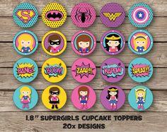 Supergirl Wondergirls Cupcake Toppers Superhero Girls Batman Spiderman Wonder Woman Boys Girls Birthday Party Kawaii Girly Party Supplies by RedAppleStudio on Etsy https://www.etsy.com/listing/205990273/supergirl-wondergirls-cupcake-toppers
