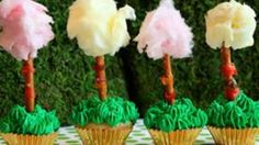A few simple ingredients are all you need to bake up some delicious and cute truffula trees for a Lorax party! Serve them on a brightly colored cake stand for guests to enjoy.