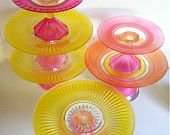 One Hand Painted Cake Stand Your Choice in Yellow, Hot Pink, coral and Orange