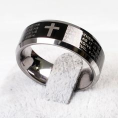 Mens 7mm Comfort Fit Christian Wedding Ring in Satin Finish