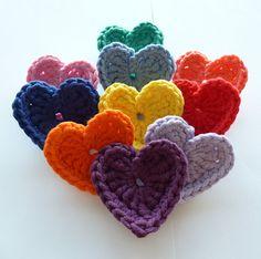 Crochet Chunky Hearts  Set of 10 by annemariesbreiblog on Etsy, €10.00