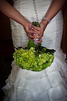 all-green hydrangea bouquet - for bridesmaids