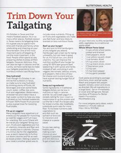 It's fall, football and tailgate parties. Enjoy your game day without dooming your diet with these tips from TWU dietetic intern, Katelin Hatcher, in the October issue of Southern Dallas County Business & Living Magazine.