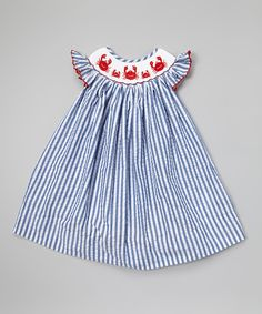 Blue & White Crab Smocked Dress - Infant, Toddler & Girls | something special every day