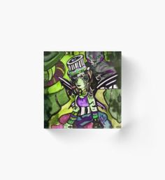 Circus of Shadows - Green and Purple Acrylic Block Autumn Nature, Autumn Art, Autumn Leaves, Autumn Witch, Autumn Illustration, Green Palette, Horror House, Halloween Celebration, Witch Art
