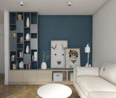 décoration murale salon en peinture bleu aviateur sur un seul mur d'accent