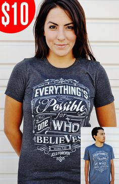 EVERYTHINGS POSSIBLE-DARK HEATHER by JCLU Forever Christian t-shirts