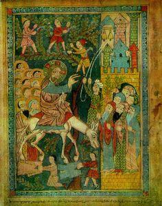 Entry into Jerusalem. Artist - Anonymous Painter of Syuniq Gospel, XIV - XV centures.