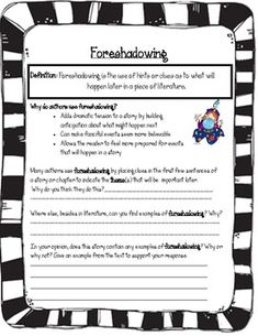 An attractive, yet simple worksheet to practice identifying and discussing foreshadowing with any story! ...