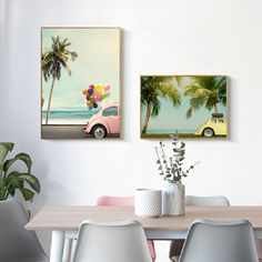 """""""Nordic Beach Seascape Vintage Car Posters and Prints Summer Blue Sky Palm Coastal Wall Art Canvas Painting Pictures Home Decor"""" Painting Pictures, Pictures To Paint, Colourful Balloons, Car Posters, Coastal Wall Art, Home Decor Paintings, Vintage Wall Art, Room Themes, Vintage Cars"""