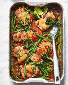 A one-pan chicken dinner that's packed full of flavour. Our teriyaki recipe takes just 5 minutes to prepare; the rest of the work is done in the oven. Traybake Dinner, Delicious Magazine Recipes, Cooking Recipes, Healthy Recipes, Teriyaki Chicken, Tray Bakes, Foodies, Brunch, Easy Meals