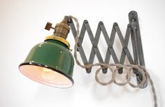 Patina Scissor Lamp with Gas Station Shade