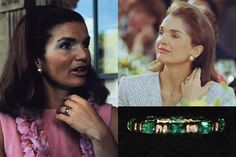 A gift from JFK for their 10th wedding anniversary in 1963. Had 10 stones, one for each year of marriage, and emerald for the Emerald Isle, Ireland. Stones in circle as an 'eternity ring'. She wore it next to her wedding band. Modified in 1972-73 when Jackie had 2 stones removed and made into 2 solitaire rings for her children. John Jr. gave his to Carolyn Bessette on the night of their wedding. Caroline now has all three rings.