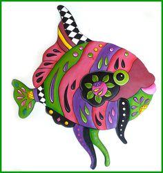 "Tropical Fish Wall Art - Hand Painted Metal Wall Decor - Tropical Decor - 28"""