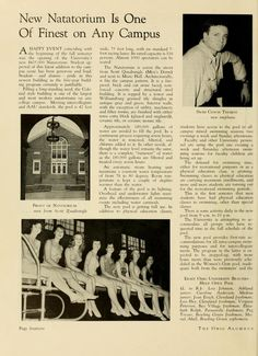 """The Ohio Alumnus, October 1950. """"New Natatorium Is One of  Finest on Any Campus."""" It was located across from Scott Quad about where the Gordy parking lot sits. Built in 1949, it housed an Olympic-size swimming pool and locker rooms used by the swim team until the Aquatic Center was built in 1984. Demolished in 1997 to make room for the renovation/expansion of Gordy Hall.. :: Ohio University Archives"""