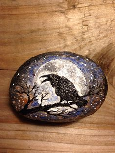 Painted Rock Mystical Crow Design PAPERWEIGHT by BrownsThreadWorks