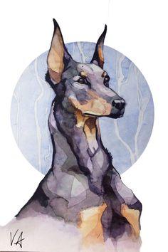 Доберман доберман, собака, рисунок, акварель, арт