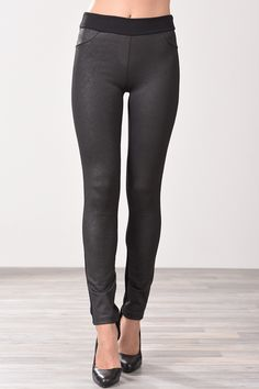 Παντελόνι κολάν ψηλόμεσο από ανάγλυφη δερματίνη μαύρο Black Jeans, Pants, Fashion, Moda, Trousers, Fashion Styles, Women Pants, Women's Pants, Fashion Illustrations