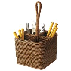 A useful holder for flatware or pens, with a clever carrying handle. In our robust and handsome rattan. Rattan Deep Carry For Flatware Cooking Utensil Holder, Condiment Holder, Nautical Home, Home Decor Accessories, Accessories Online, Flatware, Rattan, Wicker, Carry On