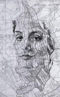 Celestial Star & Map Chart Portraits by Ed Fairburn Art En 2d, Ed Fairburn, Artist Grid, Art Inspo, Studios D'art, Map Collage, Celestial Map, Inspiration Artistique, Art Carte