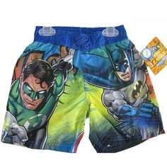 Your boy will enjoy his water playtime wearing this Batman swim wear shorts. The shorts feature a Justice League graphic print in the great visual appeal representing an image inspired by Batman cartoons in a green, navy blue design and are the perfect ch