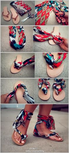 Make a flip flops from scarf