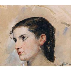 """ALBERT ANKER 1831 """"Tête de jeune fille aux yeux très profonds"""".  Aquarell over pencil  Dobiaschofsky Auktionen AG : Schweizer Kunst"""