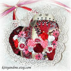 Red Embroidered Heart Crazy Quilt Valentine Hanging by Kittyandme, $29.00