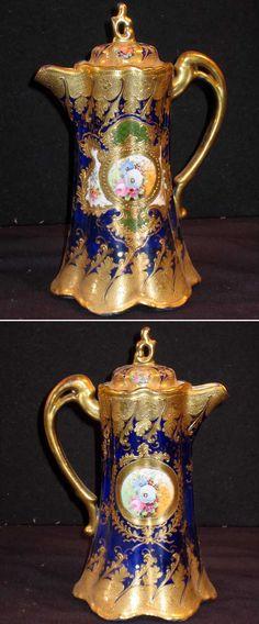 Handpainted Nippon Chocolate Pot cobolt blue   Antique Helper