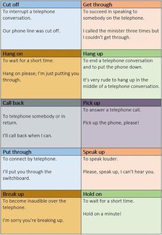 Phrasal Verbs to use on the Phone.