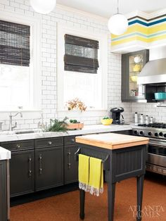 Gray and Yellow Kitchen - Contemporary - kitchen - Atlanta Homes & Lifestyles