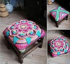 Ravelry: The Amanzi Block/Throw pattern by Jen Tyler Crochet Mandala Pattern, Crochet Square Patterns, Crochet Blocks, Freeform Crochet, Crochet Stitches Patterns, Doily Patterns, Crochet Squares, Crochet Designs, Granny Squares