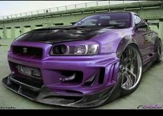 Purple Nissan Skyline GTR