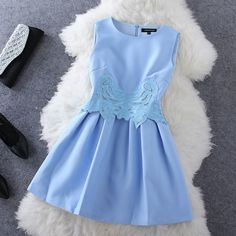 Embroidered sleeveless dress WQ724CE