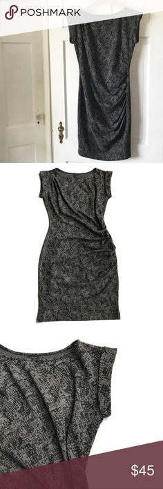 """💕NWT Ann Taylor Knit Gray and Black Print Dress Gorgeous and sophisticated knit dress with flattering ruched detail on skirt and top shoulder. Cuffed cap sleeves.  Fitted style. Approximate measurements 15"""" armpit to armpit, 36"""" from shoulder seam to hem. Machine wash. Ann Taylor Dresses"""