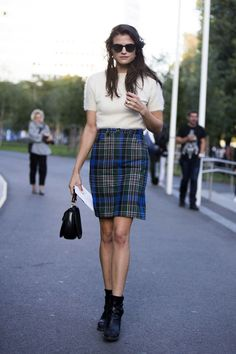 ankle booties with a short sleeved sweater plaid skirt