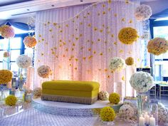 Love the hanging flowers and poof balls - weddingsabeautiful Wedding Reception Backdrop, Wedding Mandap, Desi Wedding, Wedding Stage, Wedding Backdrops, Reception Ideas, Engagement Decorations, Stage Decorations, Indian Wedding Decorations