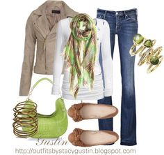 Fall Outfit- Love the pop of green