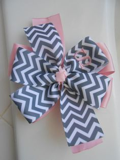 Monogrammed Chevron Hair Bow by TheBaileyBowLady on Etsy, $6.50