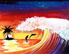 Rainbow Wave  Muse Paintbar Events | Painting Classes | Painting Calendar | Paint and Wine Classes