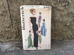 60's Butterick 2488 Pattern Misses' Slim Skirted Evening Dress - Size 16 Bust 36 Factory Folded FF by ElkHugsVintage on Etsy