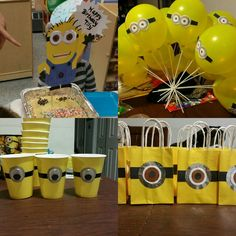 Minions theme b-day party. Diy cups/diy balloons /diy party bags/diy cake topper